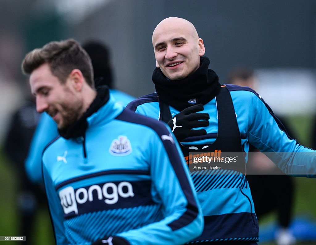 Jonjo Shelvey smiles as he warms up during the Newcastle United Training Session at The Newcastle United Training Centre on January 17, 2017 in Newcastle upon Tyne, England.