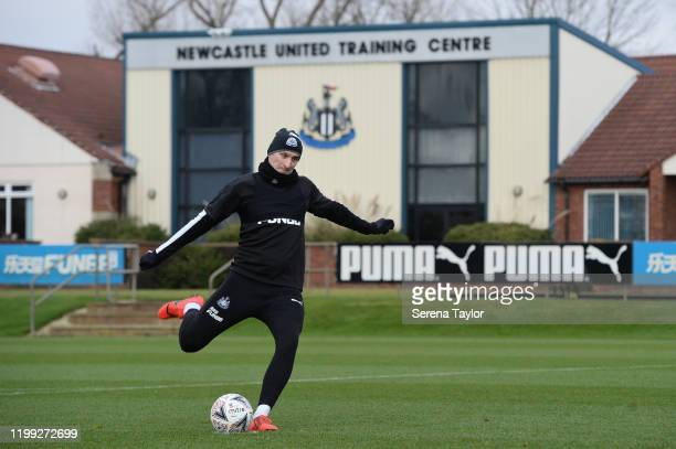 Jonjo Shelvey strikes the ball during the Newcastle United Training Session at the Newcastle United Training Centre on January 13 2020 in Newcastle...