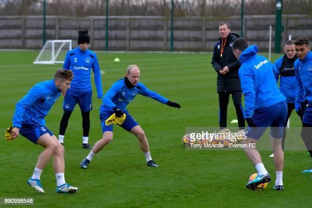 Jonjoe Kenny and Davy Klaassen during the Everton training session at USM Finch Farm on December 12 2017 in Halewood England