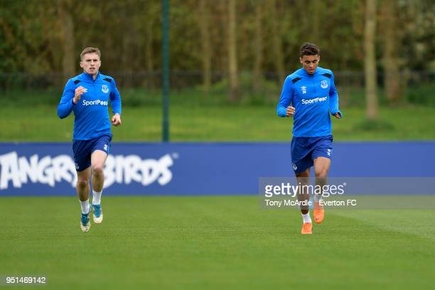 Jonjoe Kenny and Dominic CalvertLewin during the Everton FC training session at USM Finch Farm on April 26 2018 in Halewood England