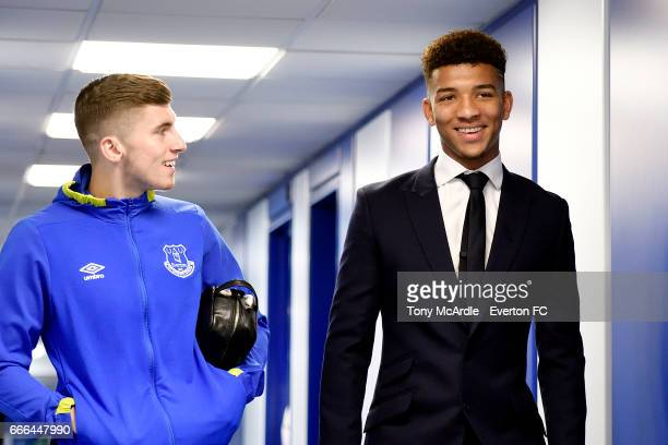 Jonjoe Kenny and Mason Holgate arrive before the Premier League match between Everton and Leicester City at Goodison Park on April 9 2017 in...
