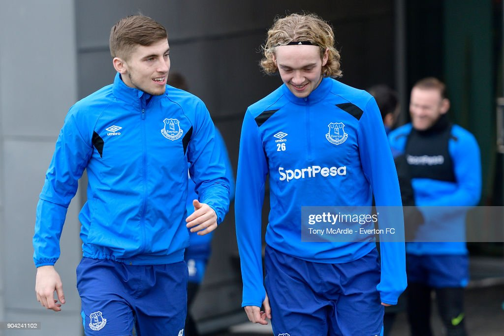 Jonjoe Kenny and Tom Davies during the Everton FC training session at USM Finch Farm on January 12, 2018 in Halewood, England.
