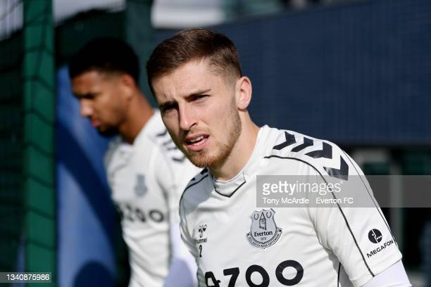 Jonjoe Kenny during the Everton Training Session at USM Finch Farm on September 16 2021 in Halewood, England.