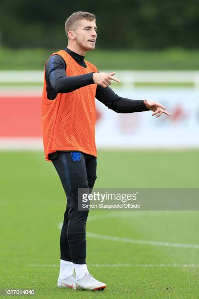 Jonjoe Kenny gestures during an England U21 training session at St George's Park on September 4 2018 in BurtonuponTrent England