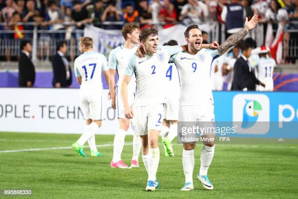 Jonjoe Kenny of England and Adam Armstrong of England celebrate after their teams 10 win over Venezuela in the FIFA U20 World Cup Korea Republic 2017...