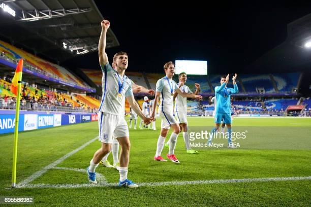 Jonjoe Kenny of England celebrates with teammates after England defeat Venezuela 10 in the FIFA U20 World Cup Korea Republic 2017 Final at Suwon...