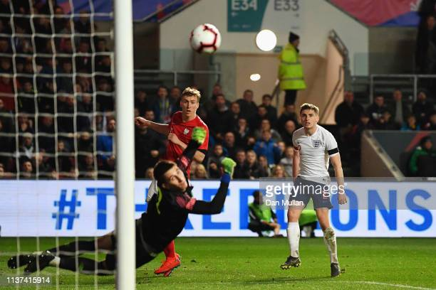 Jonjoe Kenny of England shoots on goal during the U21 International Friendly match between England and Poland at Ashton Gate on March 21 2019 in...