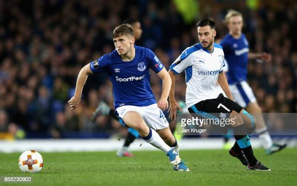 Jonjoe Kenny of Everton and Adrian Sardinero of Apollon Limassol in action during the UEFA Europa League group E match between Everton FC and Apollon...