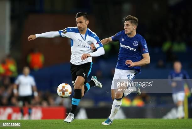 Jonjoe Kenny of Everton and Andre Schembri of Apollon Limassol in action during the UEFA Europa League group E match between Everton FC and Apollon...