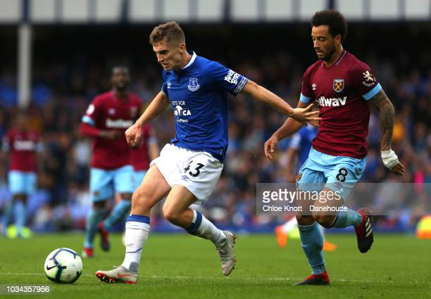 Jonjoe Kenny of Everton and Felipe Anderson of West Ham United in action during the Premier League match between Everton FC and West Ham United at...