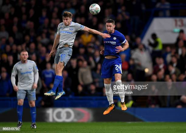 Jonjoe Kenny of Everton and Gary Cahill of Chelsea in action during the Carabao Cup Fourth Round match between Chelsea and Everton at Stamford Bridge...