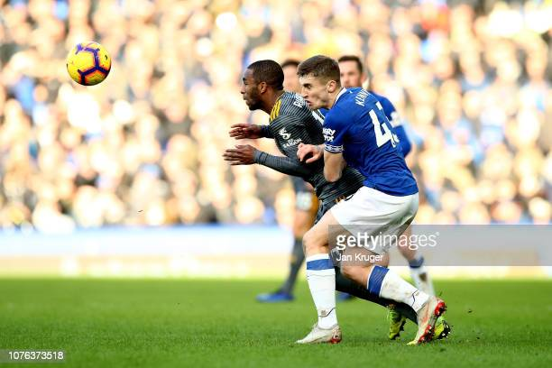 Jonjoe Kenny of Everton and Ricardo Pereira of Leicester City in action during the Premier League match between Everton FC and Leicester City at...