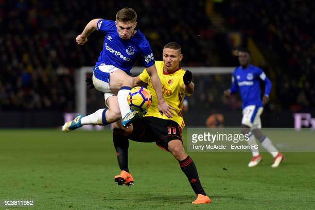 Jonjoe Kenny of Everton and Richarlison of Watford challenge for the ball during the Premier League match between Watford and Everton at Vicarage...