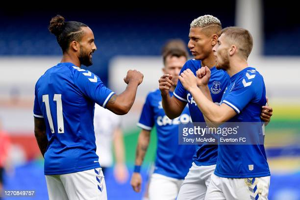 Jonjoe Kenny of Everton celebrates his goal with Richarlison and Theo Walcott during the PreSeason Friendly match between Everton and Preston North...