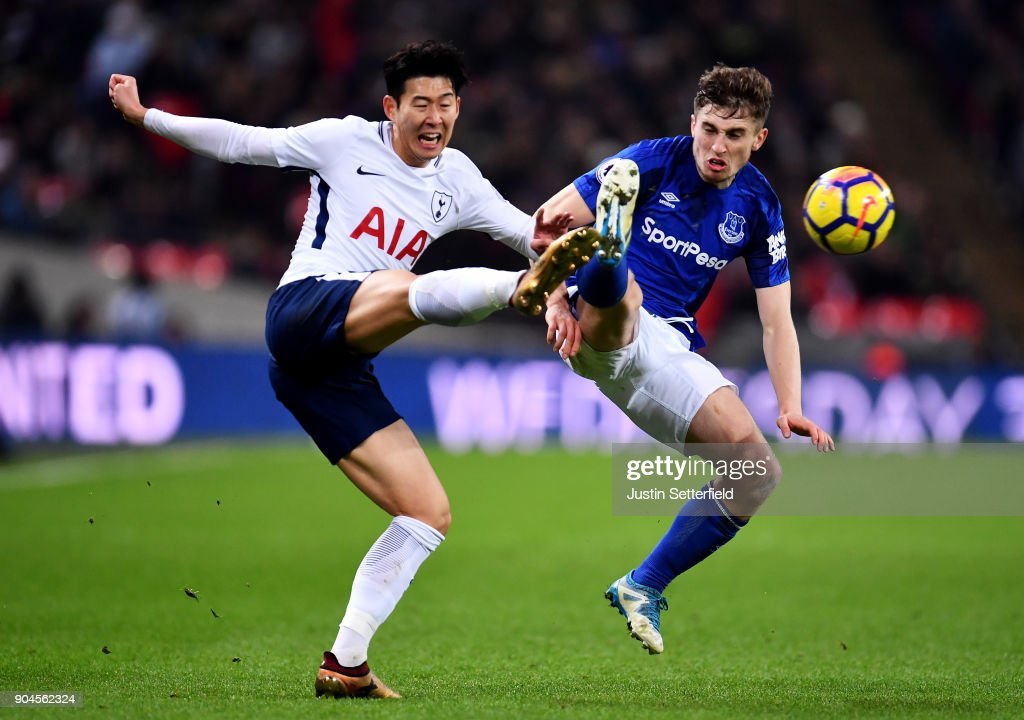 Jonjoe Kenny of Everton chalenges Son Heung-Min of Tottenham Hotspur during the Premier League match between Tottenham Hotspur and Everton at Wembley Stadium on January 13, 2018 in London, England.