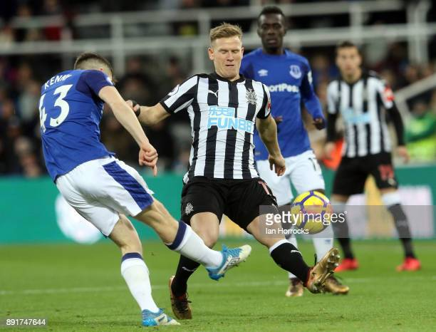 JonJoe Kenny of Everton clears from Matt Ritchie of Newcastle during the Premier League match between Newcastle United and Everton at St James' Park...