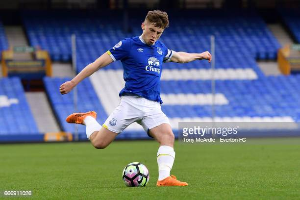 Jonjoe Kenny of Everton during the Premier League 2 match between Everton U23 and Tottenham Hotspur U23 at Goodison Park on April 10 2017 in...