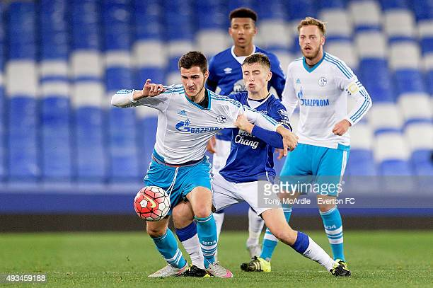 Jonjoe Kenny of Everton during the Premier League International Cup match between Everton and Schalke at Goodison Park on October 20 2015 in...