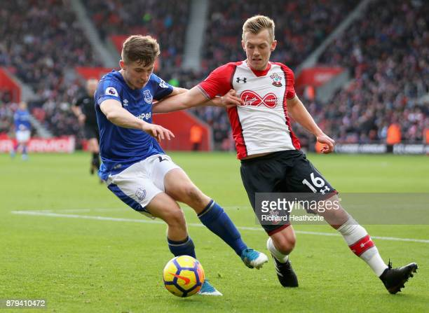 Jonjoe Kenny of Everton holds off James WardProwse of Southampton during the Premier League match between Southampton and Everton at St Mary's...