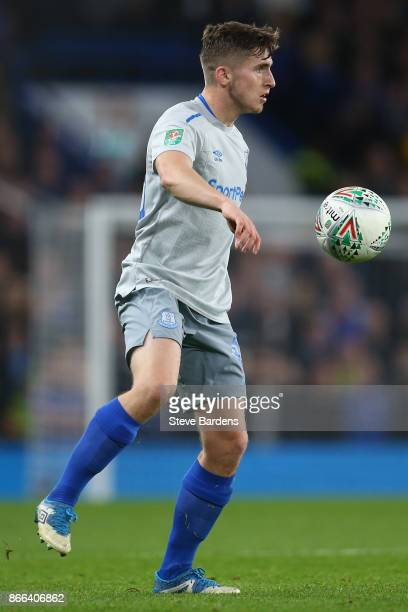 Jonjoe Kenny of Everton in action during the Carabao Cup Fourth Round match between Chelsea and Everton at Stamford Bridge on October 25 2017 in...