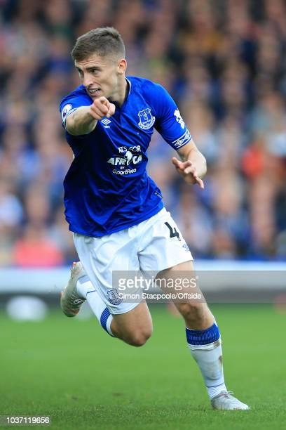 Jonjoe Kenny of Everton in action during the Premier League match between Everton and West Ham United at Goodison Park on September 16 2018 in...