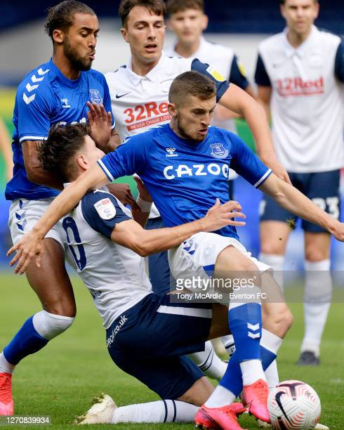 Jonjoe Kenny of Everton in the thick of the action as he scores during the PreSeason Friendly match between Everton and Preston North End at Goodison...