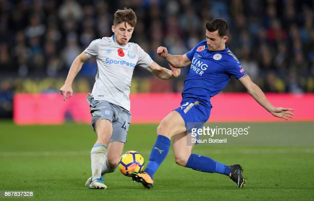 Jonjoe Kenny of Everton is challenged by Ben Chilwell of Leicester City during the Premier League match between Leicester City and Everton at The...