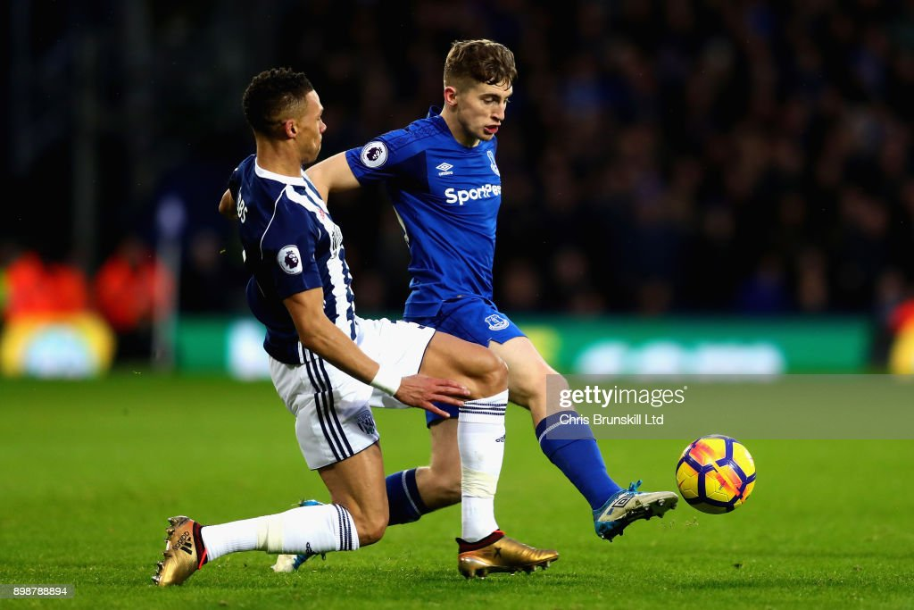 Jonjoe Kenny of Everton is challenged by Kieran Gibbs of West Bromwich Albion during the Premier League match between West Bromwich Albion and Everton at The Hawthorns on December 26, 2017 in West Bromwich, England.