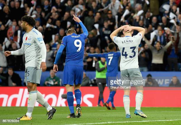 Jonjoe Kenny of Everton reacts as he scores an own for Leicester's second goal during the Premier League match between Leicester City and Everton at...