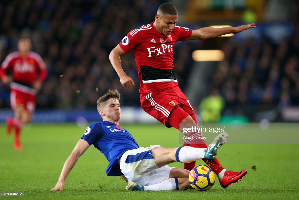 Jonjoe Kenny of Everton tackles Richarlison de Andrade of Watford during the Premier League match between Everton and Watford at Goodison Park on November 5, 2017 in Liverpool, England.