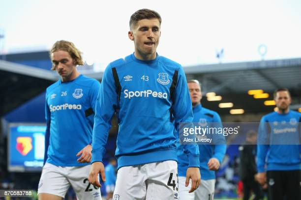Jonjoe Kenny of Everton warms up prior to the Premier League match between Everton and Watford at Goodison Park on November 5 2017 in Liverpool...