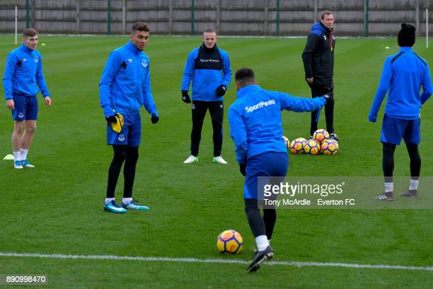 Jonjoe Kenny Wayne Rooney and Dominic CalvertLewin during the Everton training session at USM Finch Farm on December 12 2017 in Halewood England
