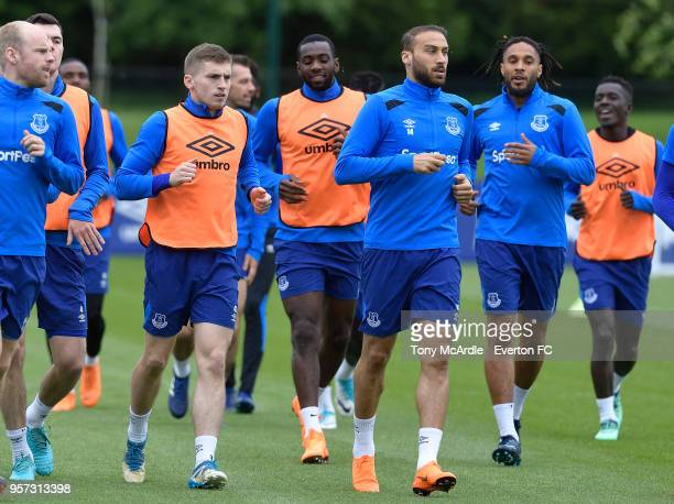 Jonjoe Kenny Yannick Bolasie and Cenk Tosun during the Everton FC training session at USM Finch Farm on May 11 2018 in Halewood England
