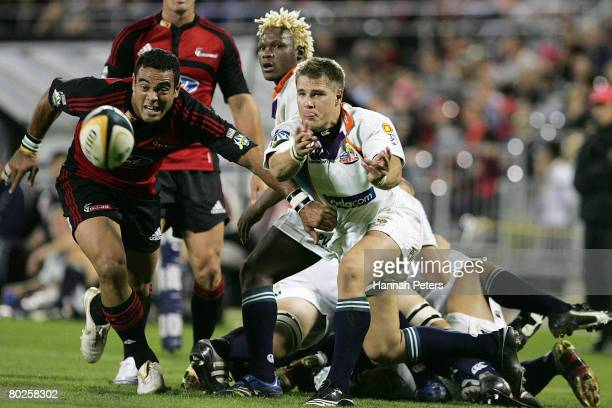Jonker of the Cheetahs passes the ball during the round five Super 14 match between the Crusaders and the Cheetahs at AMI Stadium on March 15 2008 in...