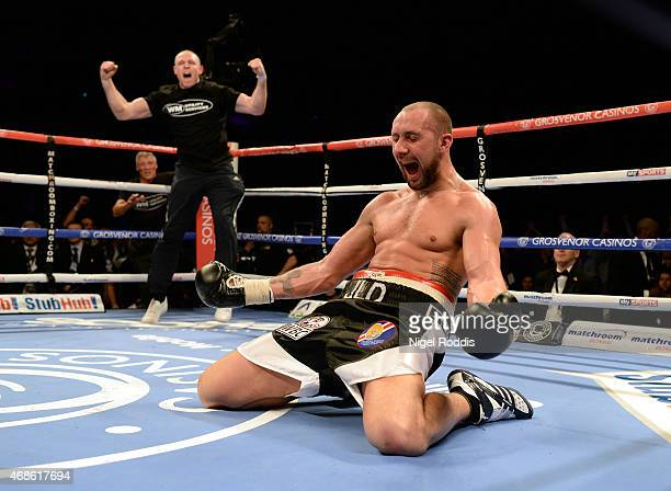 JonLewis Dickinson of England reacts after beating Stephen Simmons of Scotland in their WBC International Silver Cruiserweight Championship boxing...