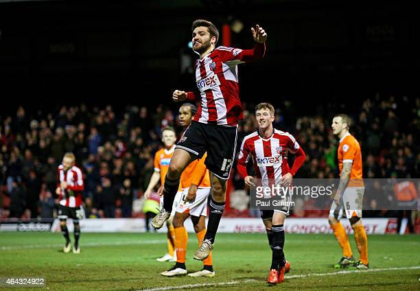 JonMiquel Toral of Brentford celebrates after completing his hattrick by scoring his team's fourth goal during the Sky Bet Championship match between...