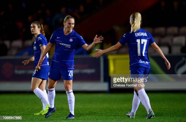 Jonna Andersson of Chelsea and Adelina Engman of Chelsea celebrate during a Continental Tyres Cup match between Chelsea Women and Yeovil Town Ladies...