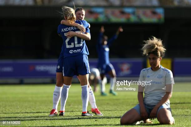 Jonna Andersson of Chelsea celebrates with her team after she scores her sides first goal during the WSL match between Chelsea Ladies and Everton...