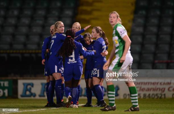 Jonna Andersson of Chelsea celebrates with her team mates after she scores to put her side 10 up during a WSL match between Chelsea and Yeovil Town...