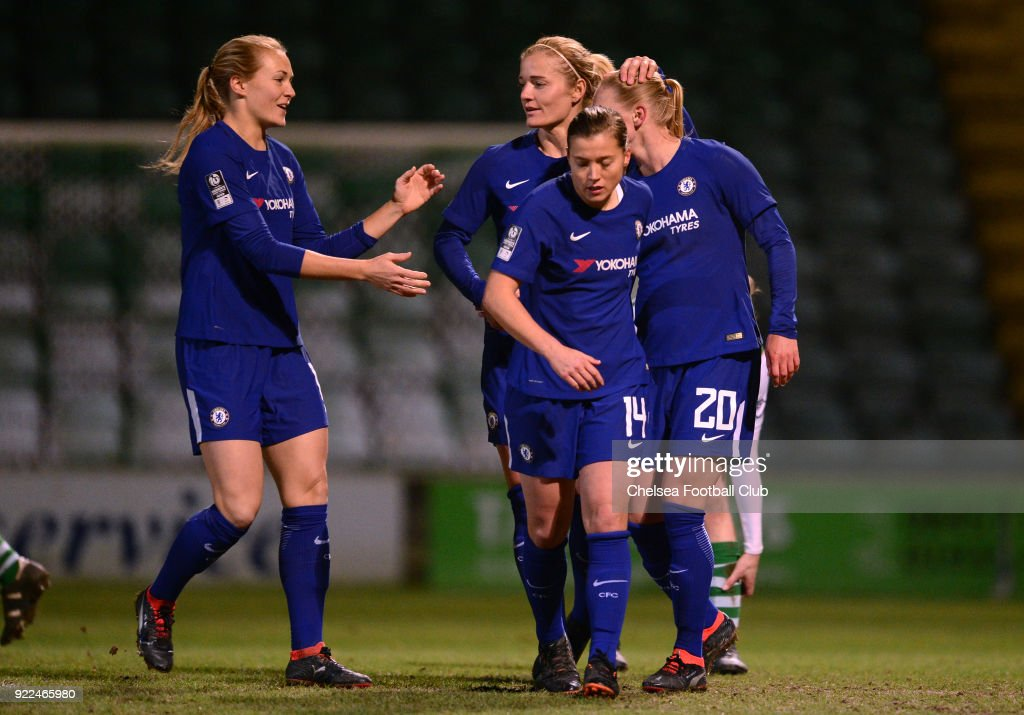 Jonna Andersson of Chelsea celebrates with her team mates after she scores to put her side 1-0 up during a WSL match between Chelsea and Yeovil Town Ladies at Huish Park on February 21, 2018 in Yeovil, England.