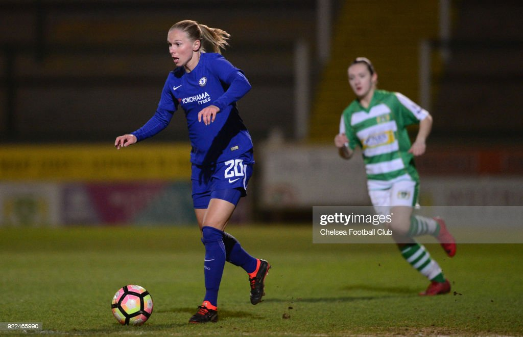 Jonna Andersson of Chelsea in action during a WSL match between Chelsea and Yeovil Town Ladies at Huish Park on February 21, 2018 in Yeovil, England.
