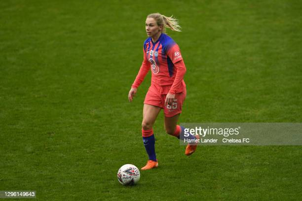 Jonna Andersson of Chelsea runs with the ball during the Barclays FA Women's Super League match between Reading Women and Chelsea Women at Madejski...
