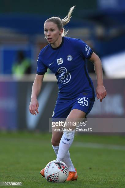 Jonna Andersson of Chelsea runs with the ball during the Barclays FA Women's Super League match between Chelsea Women and Manchester United Women at...