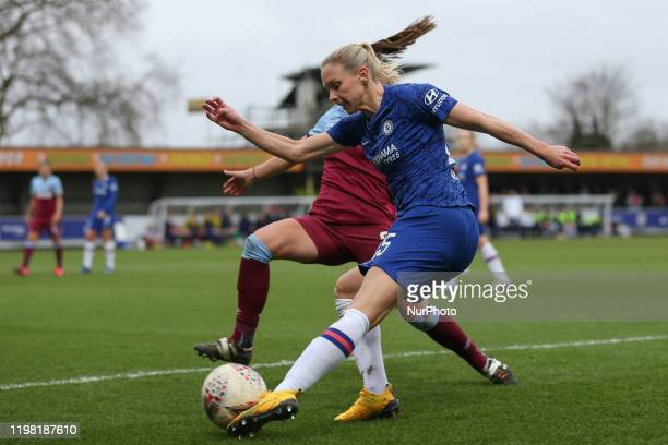 Jonna Andersson of Chelsea Women crossing it past Cecillie Kvamme of West Ham United Women during the Barclays FA Women's Super League match between...