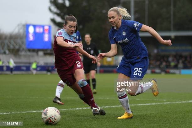 Jonna Andersson of Chelsea Women getting past Cecillie Kvamme of West Ham United Women during the Barclays FA Women's Super League match between...