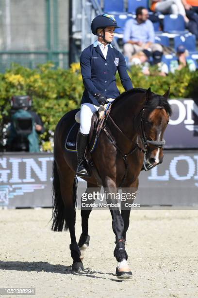 Jonna Ekberg of Sweden riding Univers du Vinnebus during Longines FEI Jumping Nations Cup Final Competition on October 7 2018 in Barcelona Spain