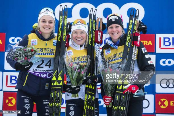 Jonna Sundling of Sweden takes 1st place Stina Nilsson of Sweden takes 2nd place Sadie Bjornsen of USA takes 3rd place during the FIS Nordic World...
