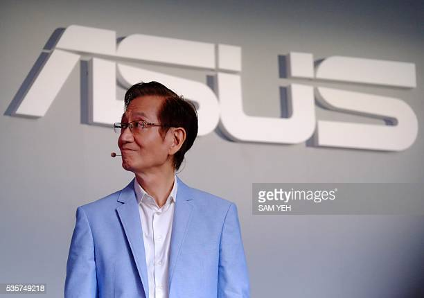 Jonney Shih Chairman of Taiwan's ASUSTeK Computer listens during a press conference on the eve of the COMPUTEX computer expo in Taipei on May 30 2016...