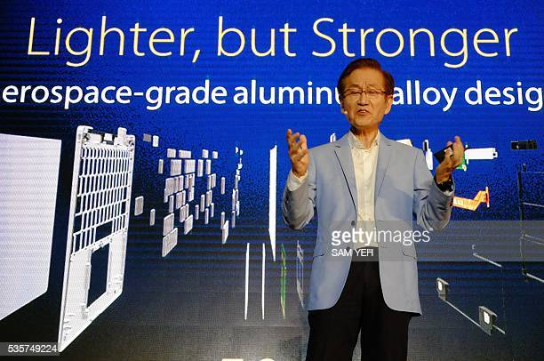 Jonney Shih Chairman of Taiwan's ASUSTeK Computer speaks during a press conference on the eve of the COMPUTEX computer expo in Taipei on May 30 2016...