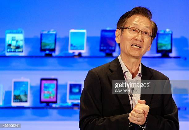 Jonney Shih, the chairman of Taiwanese electronics company ASUS, speaks during the Computex tech show in Taipei on June 3, 2014. More than 1,500...